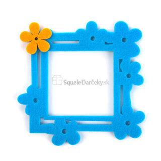 Detský filcový rámček na fotografie alebo vypínač – modré kvety
