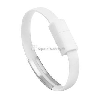 Nabíjací a dátový Micro USB – Náramok na ruku – biela