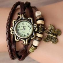Náramkové hodinky Retro Butterfly Brown