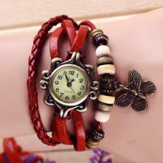 Náramkové hodinky Retro Butterfly Red