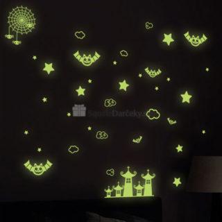 Fosforeskujúce svietiace nálepky na stenu alebo strop – Halloween a netopiere