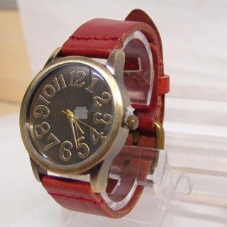 Náramkové hodinky Vintage Olivine Dark Red