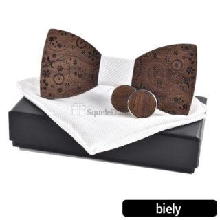 Drevený set Marvin – motýlik, manžetové gombíky, vreckovka do saka, krabička